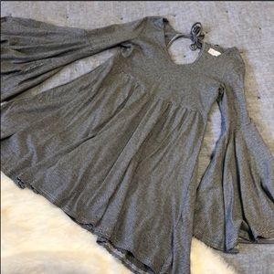Altar'd state grey striped bell sleeve dress sz. S